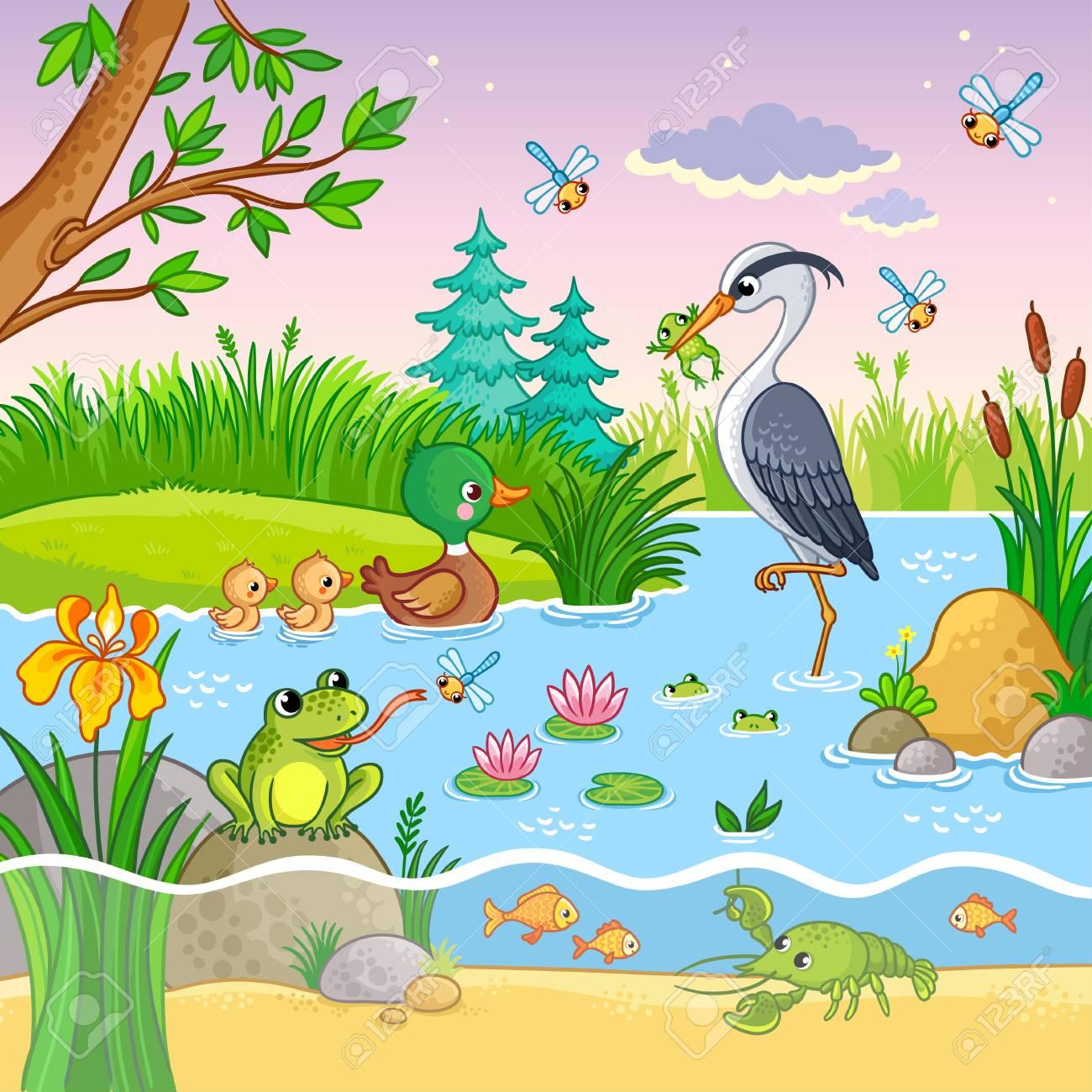 Vector Con La Naturaleza Y Los Animales En El Estilo De Dibujos Animados Para Niños Preciosos Cangrejos Y Peces En El Agua