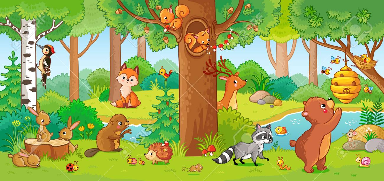 Vector illustration with cute forest animals in a children's style. A set of mammals in the forest. Collection in the children's style. - 104120684
