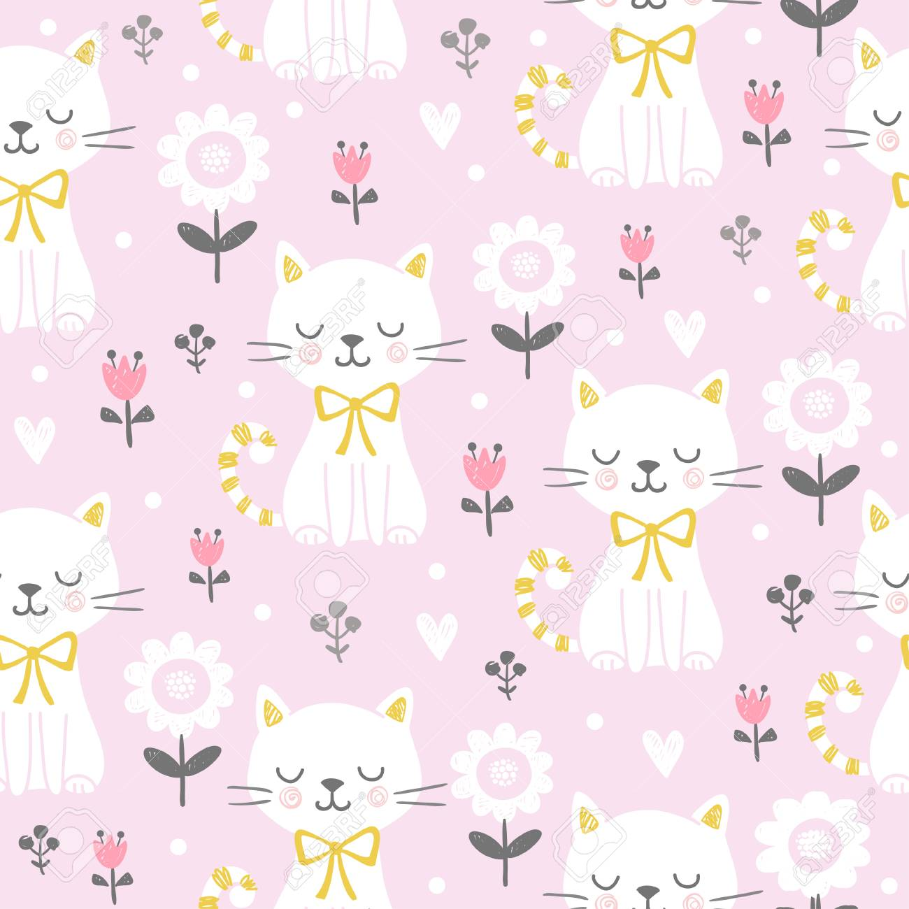 Vector seamless illustration with a cute cat on a pink background. Picture in the children's, cartoon style. - 111720174