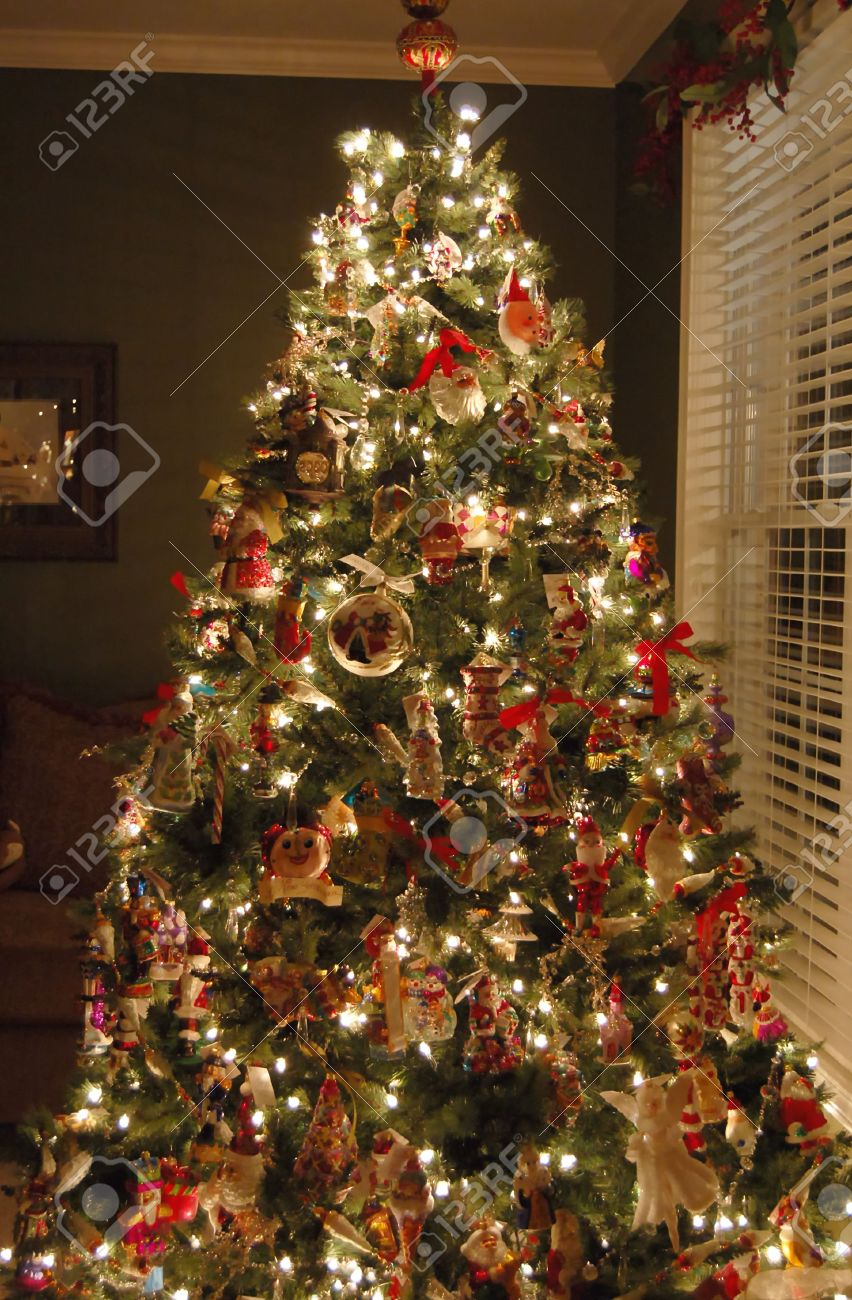 Christmas Tree In Living Room beautifully decorated christmas tree in a living room stock photo