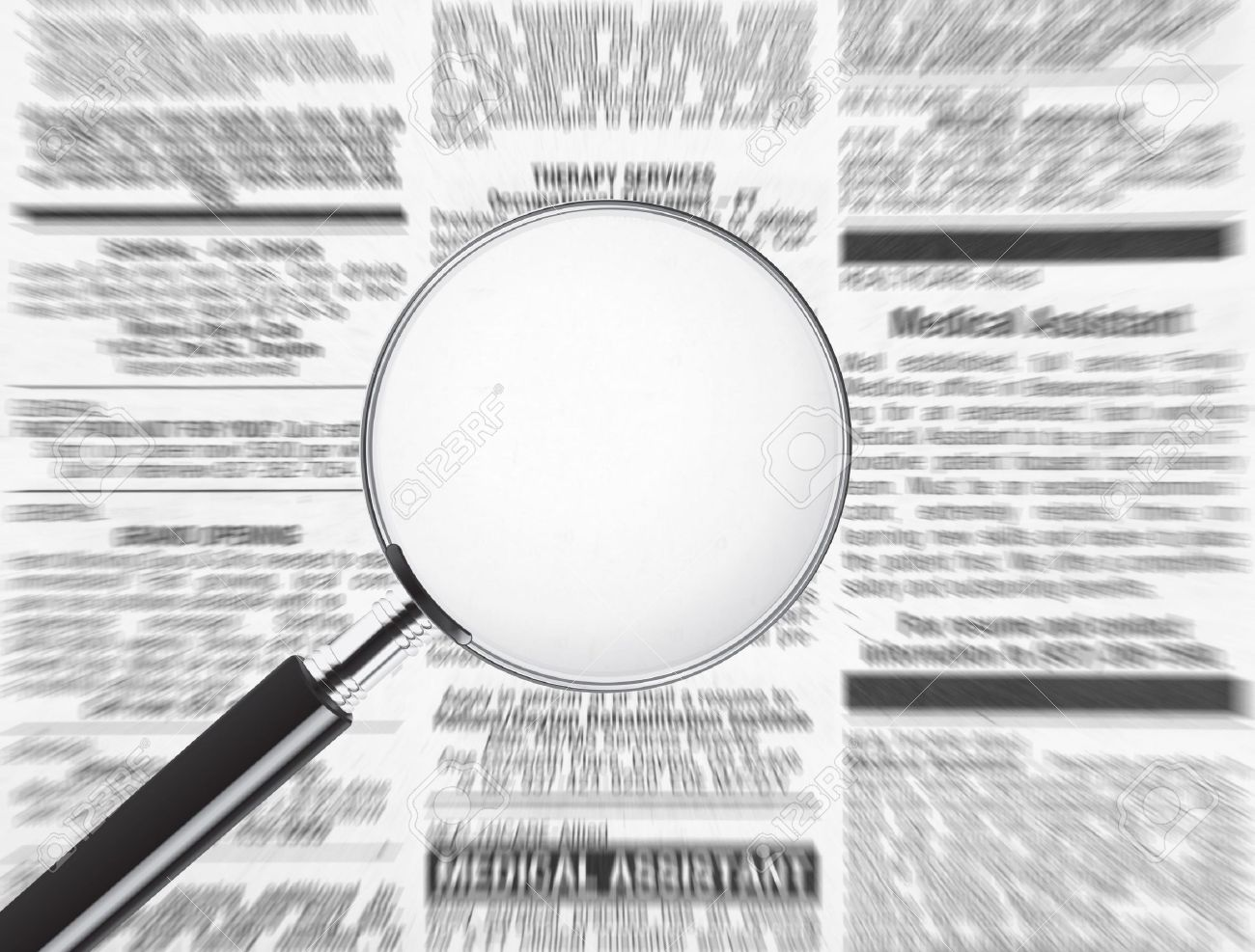 Blank magnifying glass over newspaper. Plenty of room to add text to display your message Stock Photo - 6406795