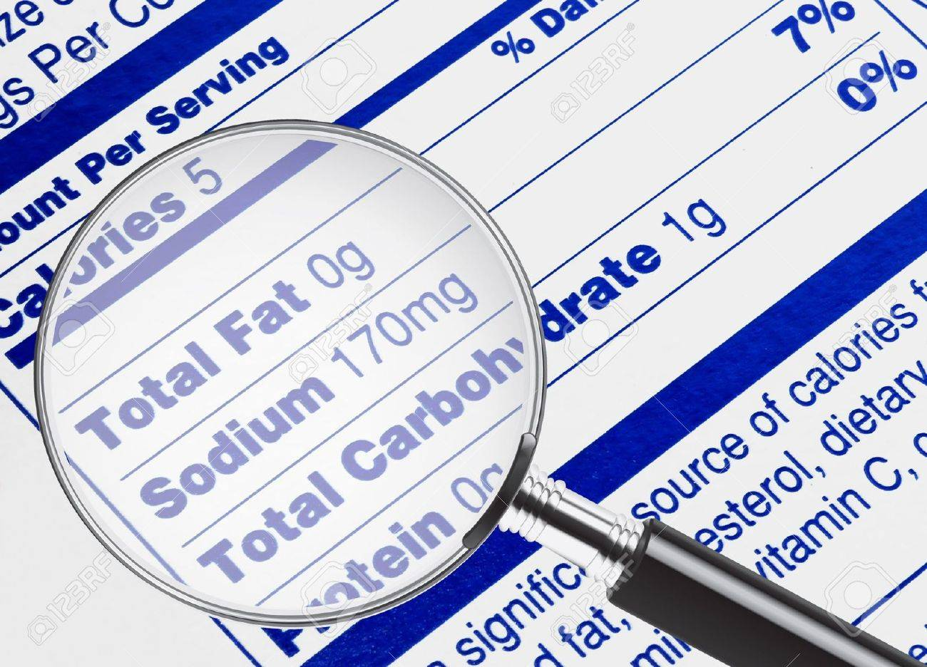 Nutrition information being studied under a magnifying glass Stock Photo - 6406791