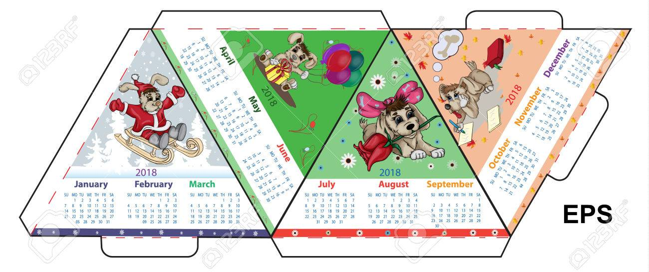 Vector layout for printing an A4 calendar for 2018 of an earth dog - 84138601