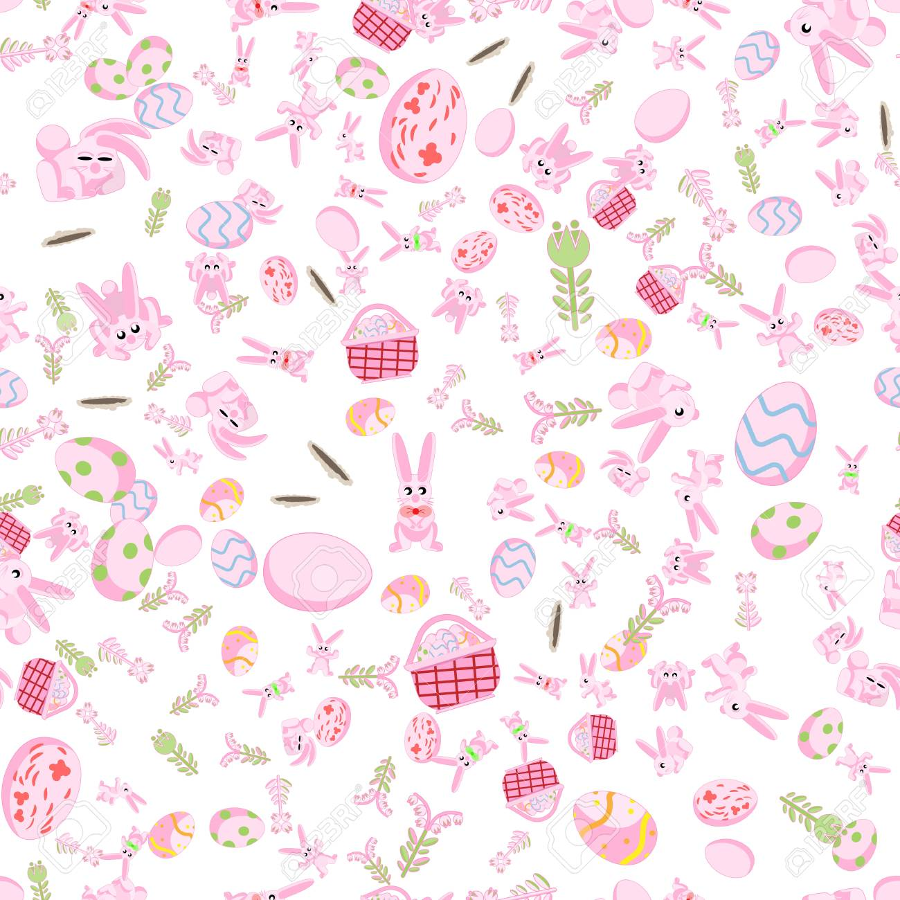 Flat Pattern Of Pink Rabbits In Different Poses Plants And Easter Eggs Isolated White Background