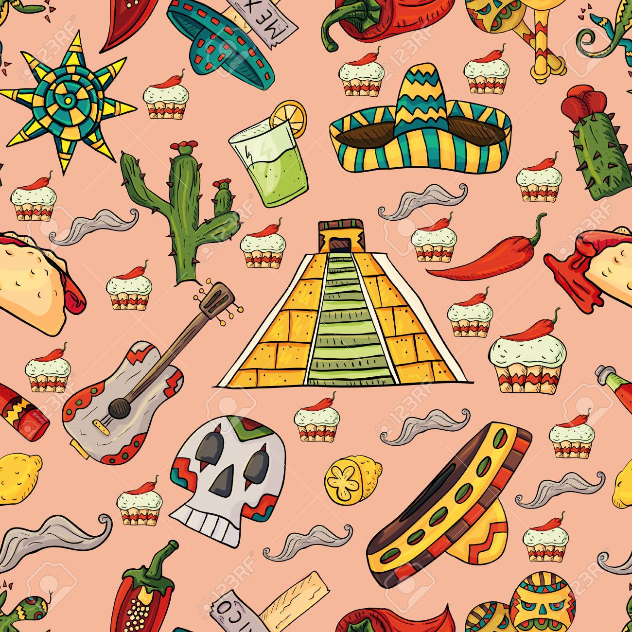 seamless pattern vector illustration on isolated background Mexican