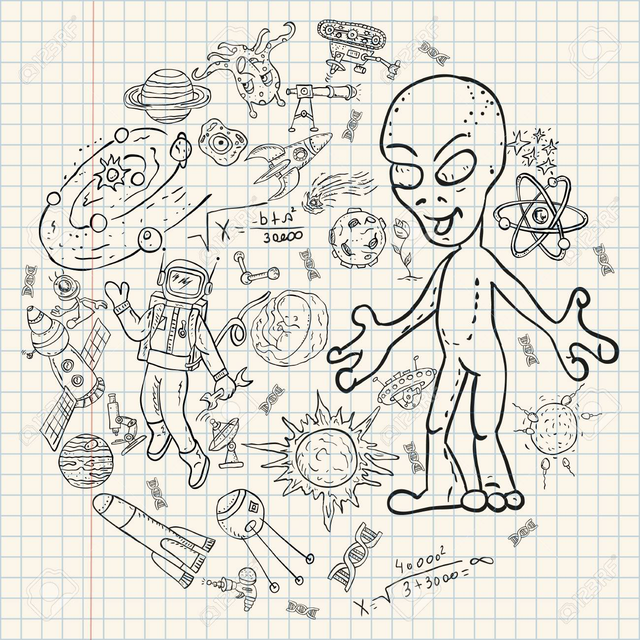 Vector vector childrens drawings coloring pages on space theme science and the emergence of life on earth ufo planet reproduction technique universe
