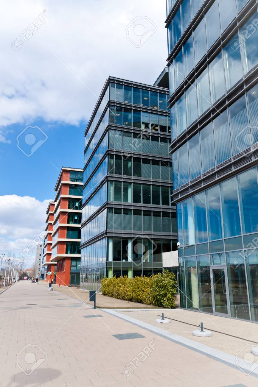 City central with business and trade buildings and sidewalk Stock Photo - 9510889