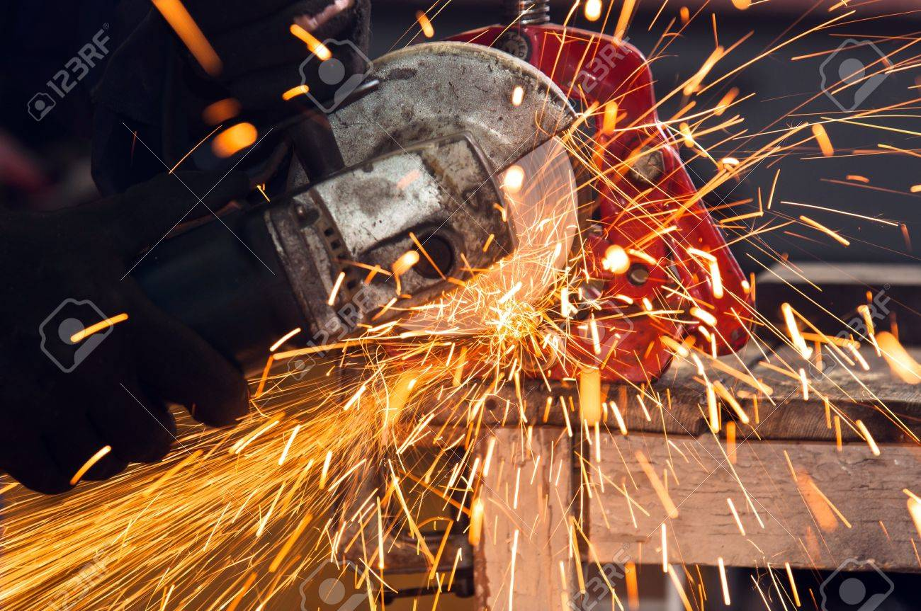 How to use a circular saw to make beautiful sparks Stock Photo - 11508597