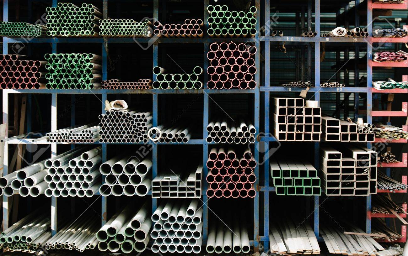 Pipes stacked up in a factory Stock Photo - 12134622