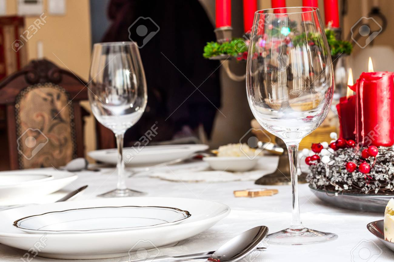 Table Setting Background holiday table setting with blurry background stock photo, picture