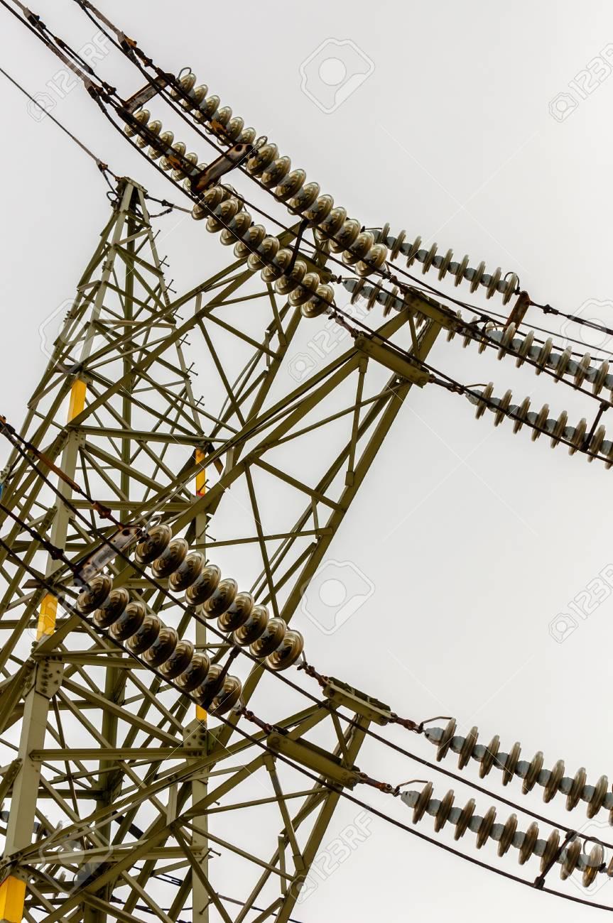 Power line angle shot against sky Stock Photo - 13611189