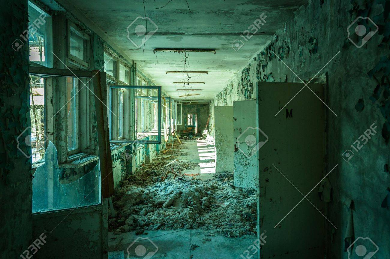 Abandoned corridor in pripyat school 2012 Stock Photo - 14302366
