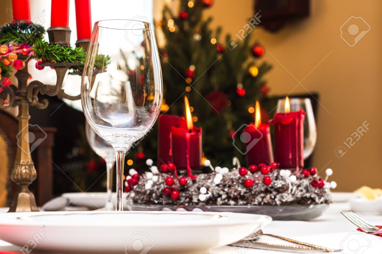Set up christmas table inside a house Stock Photo - 14984684 & Set Up Christmas Table Inside A House Stock Photo Picture And ...