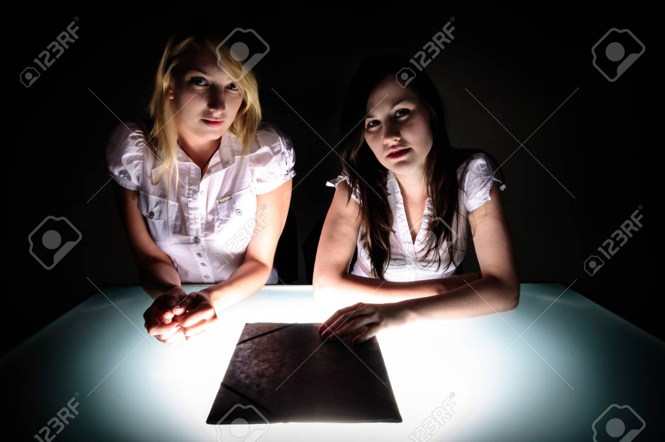 Conceptual photo of crime scene investigation with two girls Stock Photo - 14995084