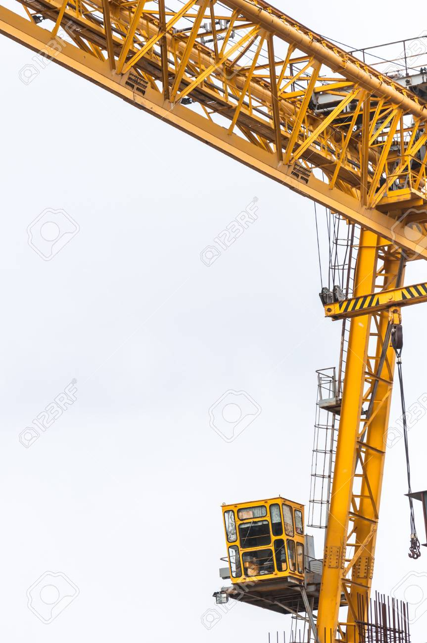 Industrial crane against white sky Stock Photo - 15997884