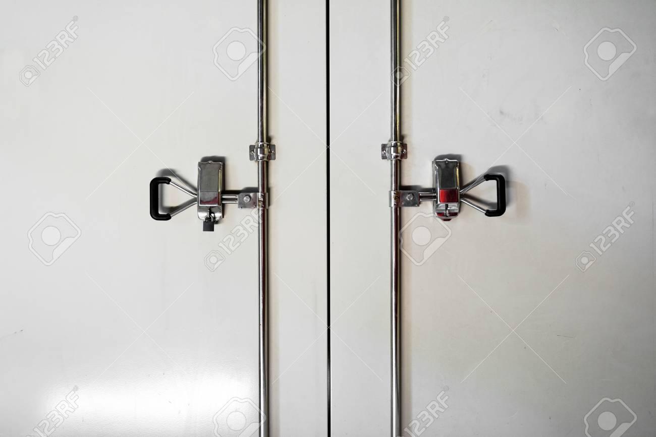 Steel locker closeup photo in white Stock Photo - 20086973