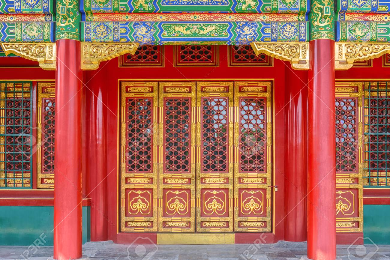 Gateway with red Chinese doors Stock Photo - 70526221 & Gateway With Red Chinese Doors Stock Photo Picture And Royalty Free ...