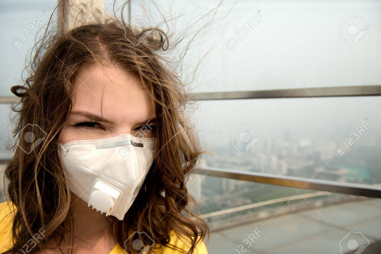 Against Pollution The In Mask Woman Medical Air