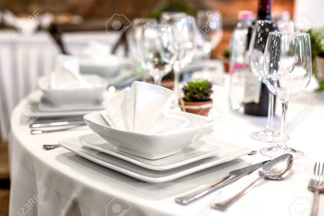Closeup of a table at the dining hall - 136226273