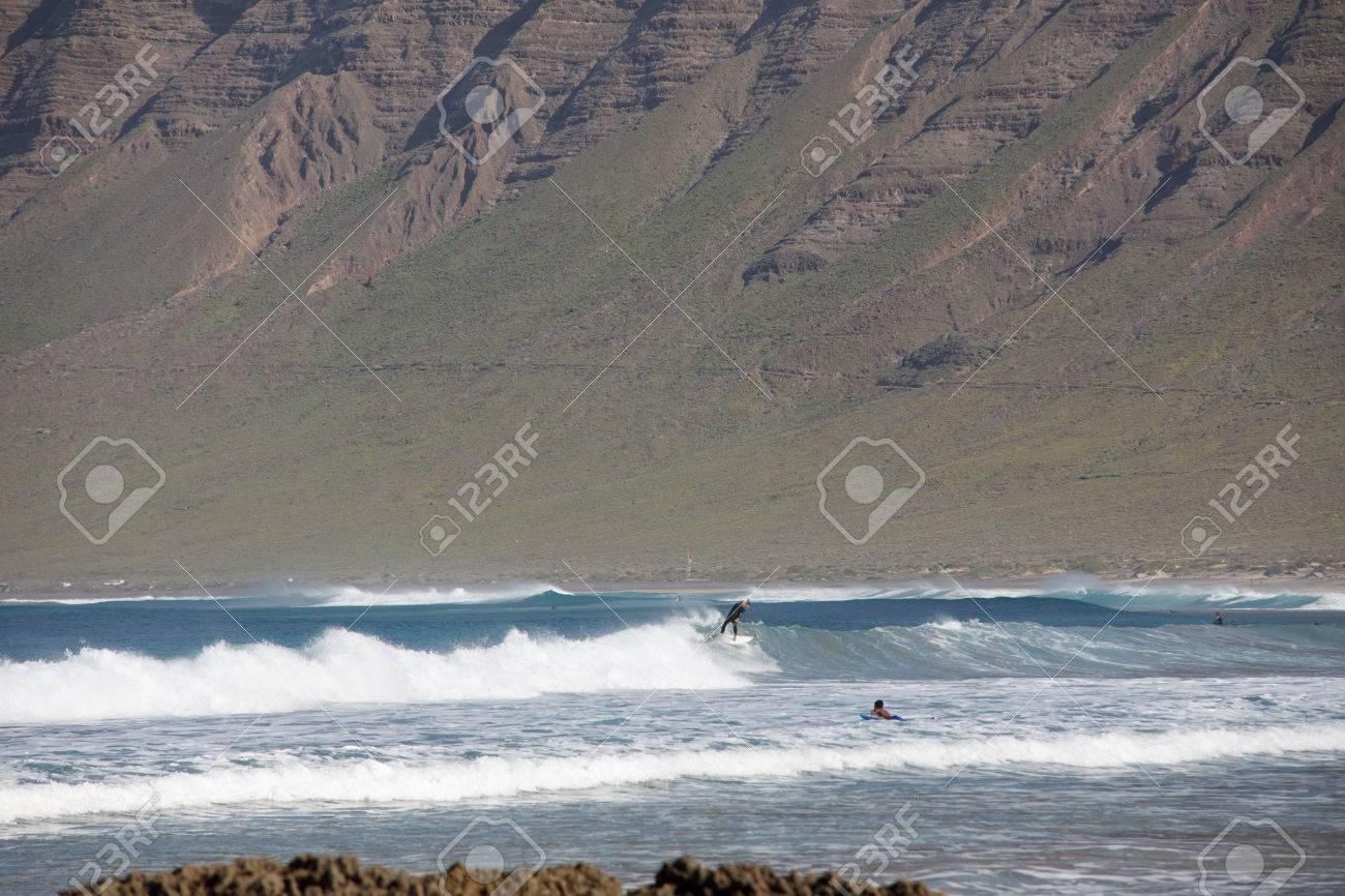 Surf Beach Famara on Lanzarote. - 81404444