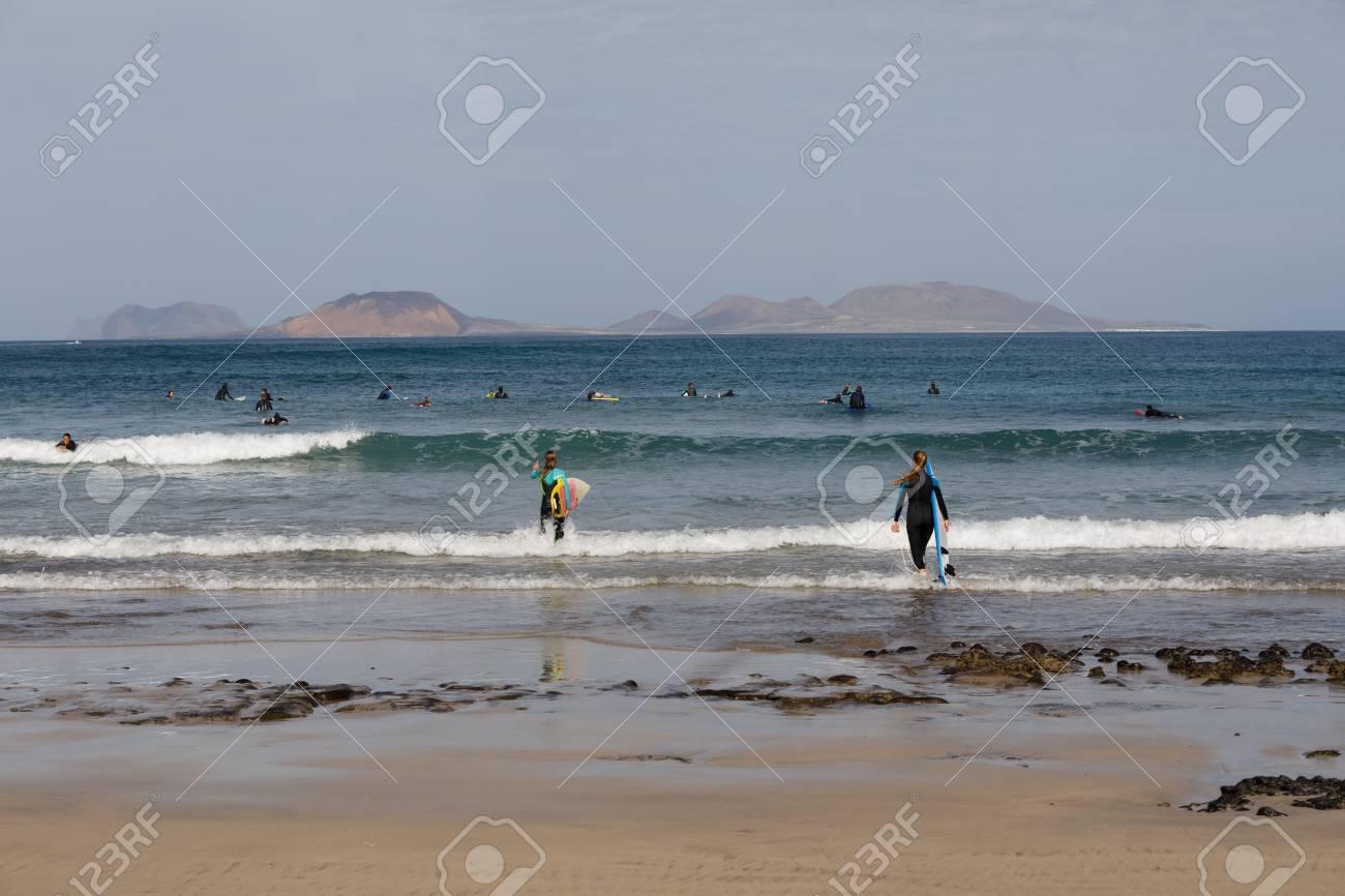 Surf Beach Famara on Lanzarote. - 81330721