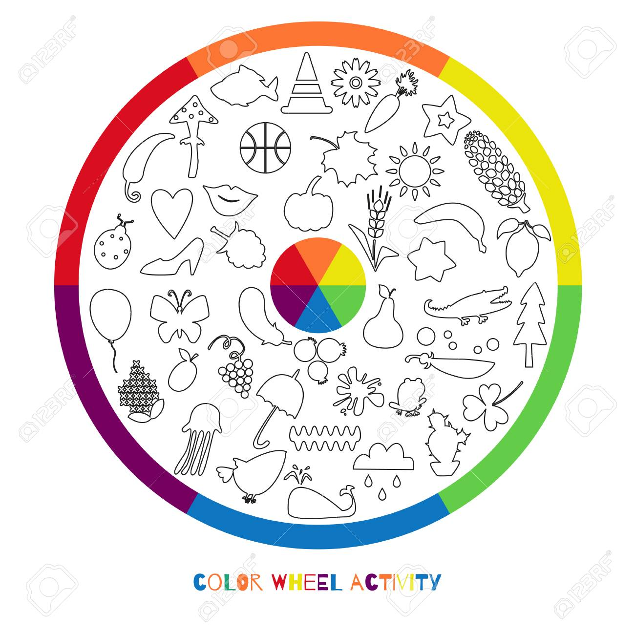 Color Wheel Activity For Coloring Children With Objects Of