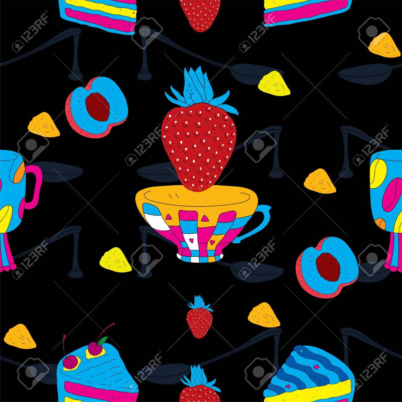 Cakes Futuristic Seamless Pattern with Coffee Cup, Strawberry and Peach Stock Vector - 15304042