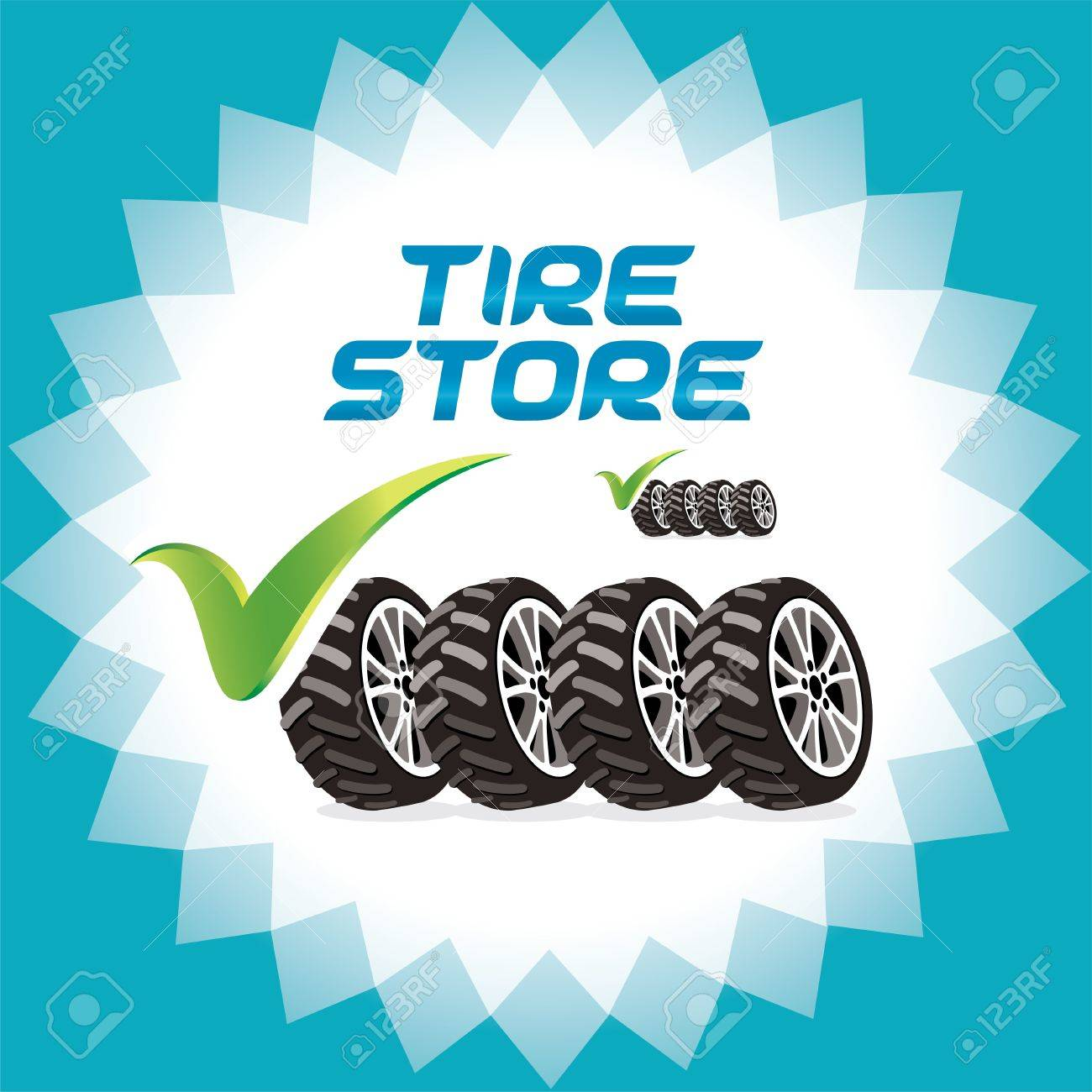 Four Wheels Accept Icons, Logo Illustration for Web and Print Design Stock Vector - 15743164