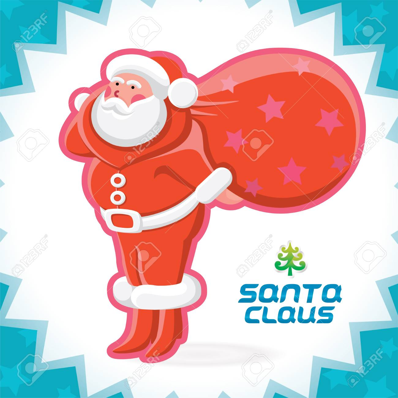 Glossy Santa Claus Merry Christmas, New Year Illustration, Icons, Button, Sign, Symbol for Family, Festival Celebration, Baby, Children, Teenager, People Stock Vector - 16209883