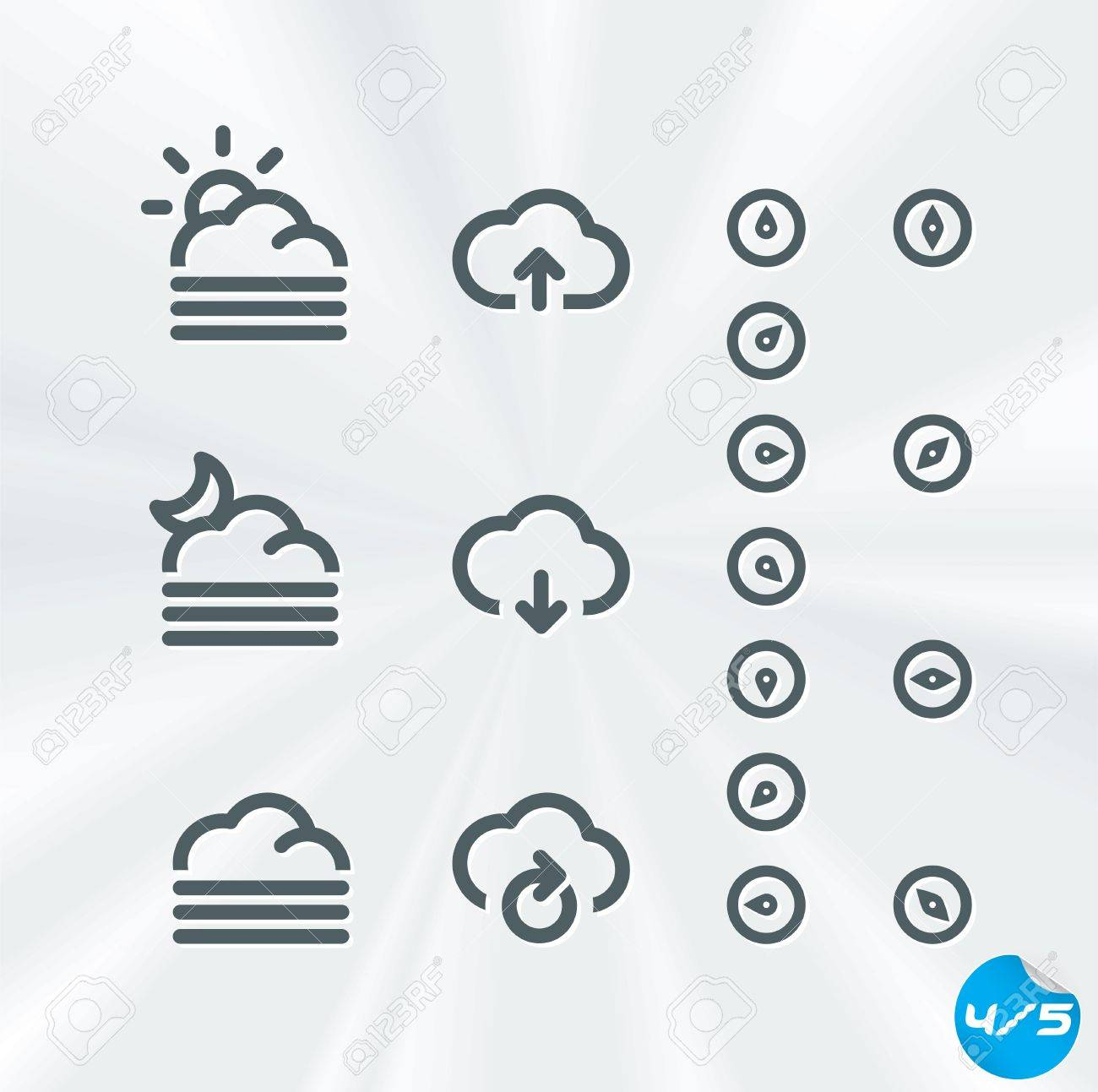 Weather Icons Collection, Button, Sign, Symbol, Emblem, Sticker, Badge, User Interface, Baby, Children, People Stock Vector - 17089660