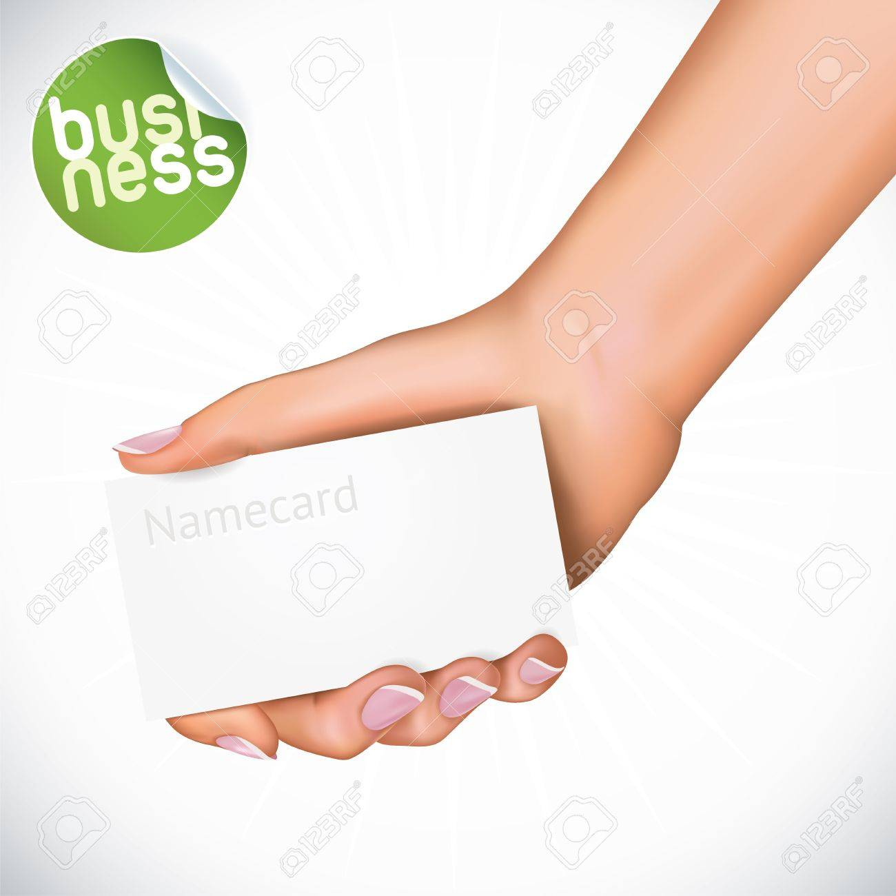 Vector Hand Holding Name Card