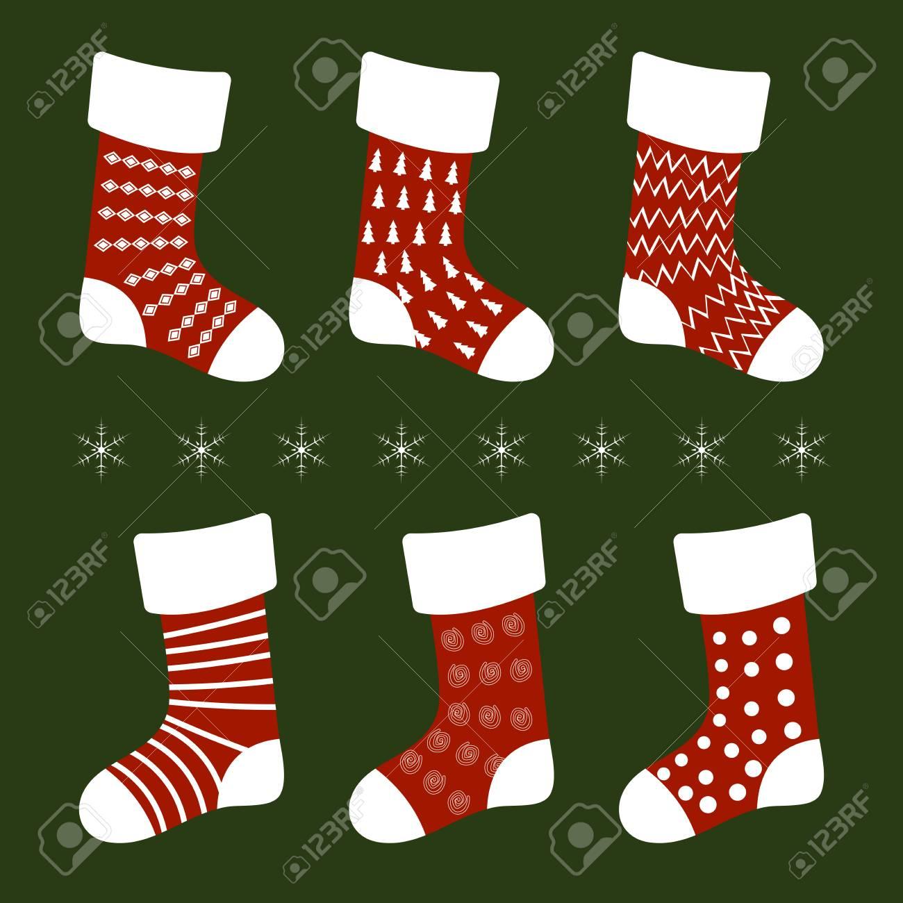 Vektor-Illustration Rot Weihnachten Socken Mit Verschiedenen Mustern ...
