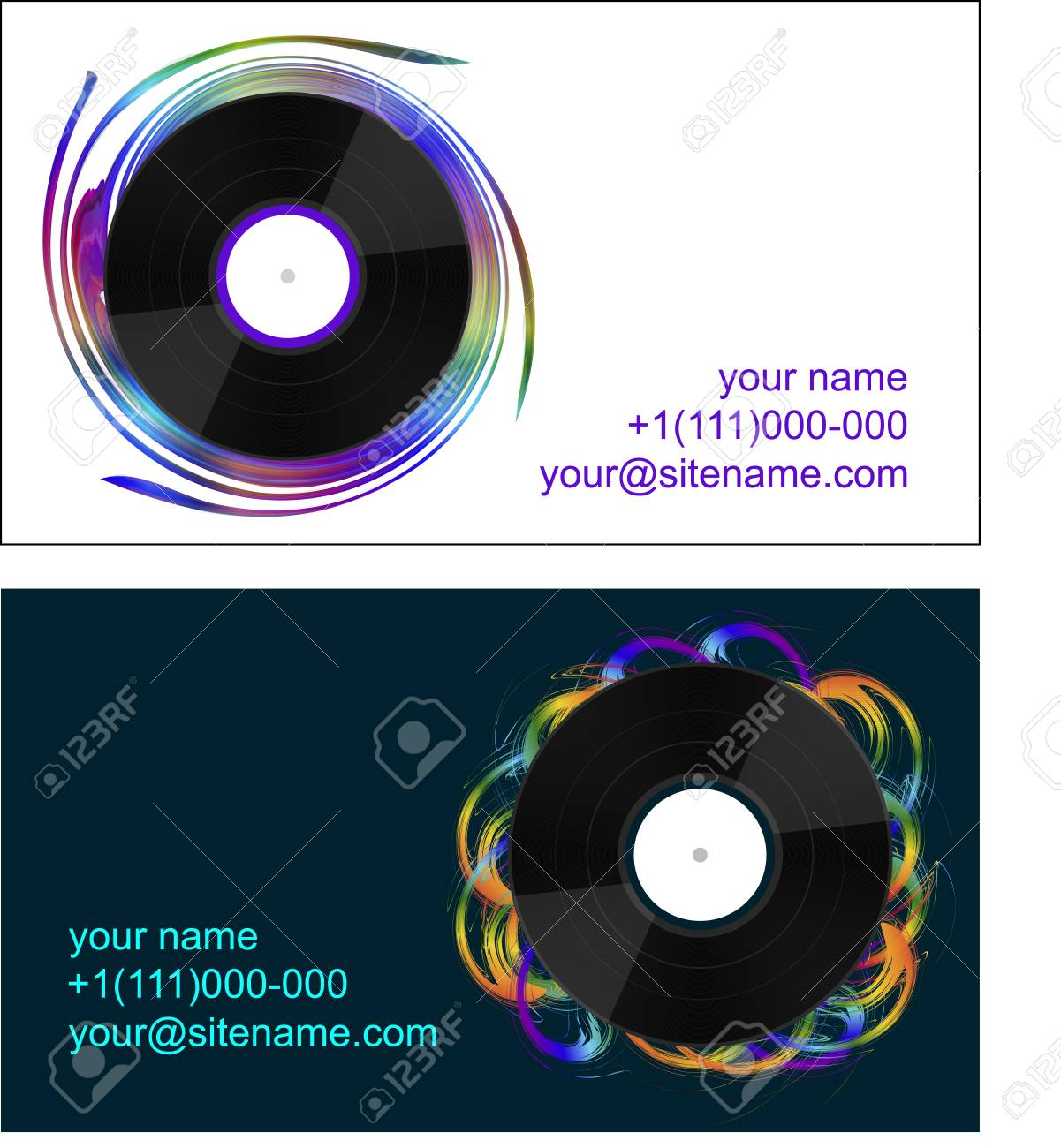 Business Cards With Vinyl Records On Abstract Background Royalty ...