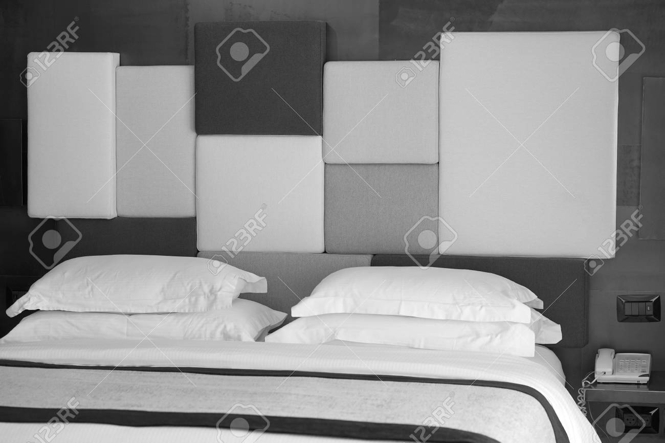 Modern bedroom interior in the hotel black and white photography stock photo 94181613