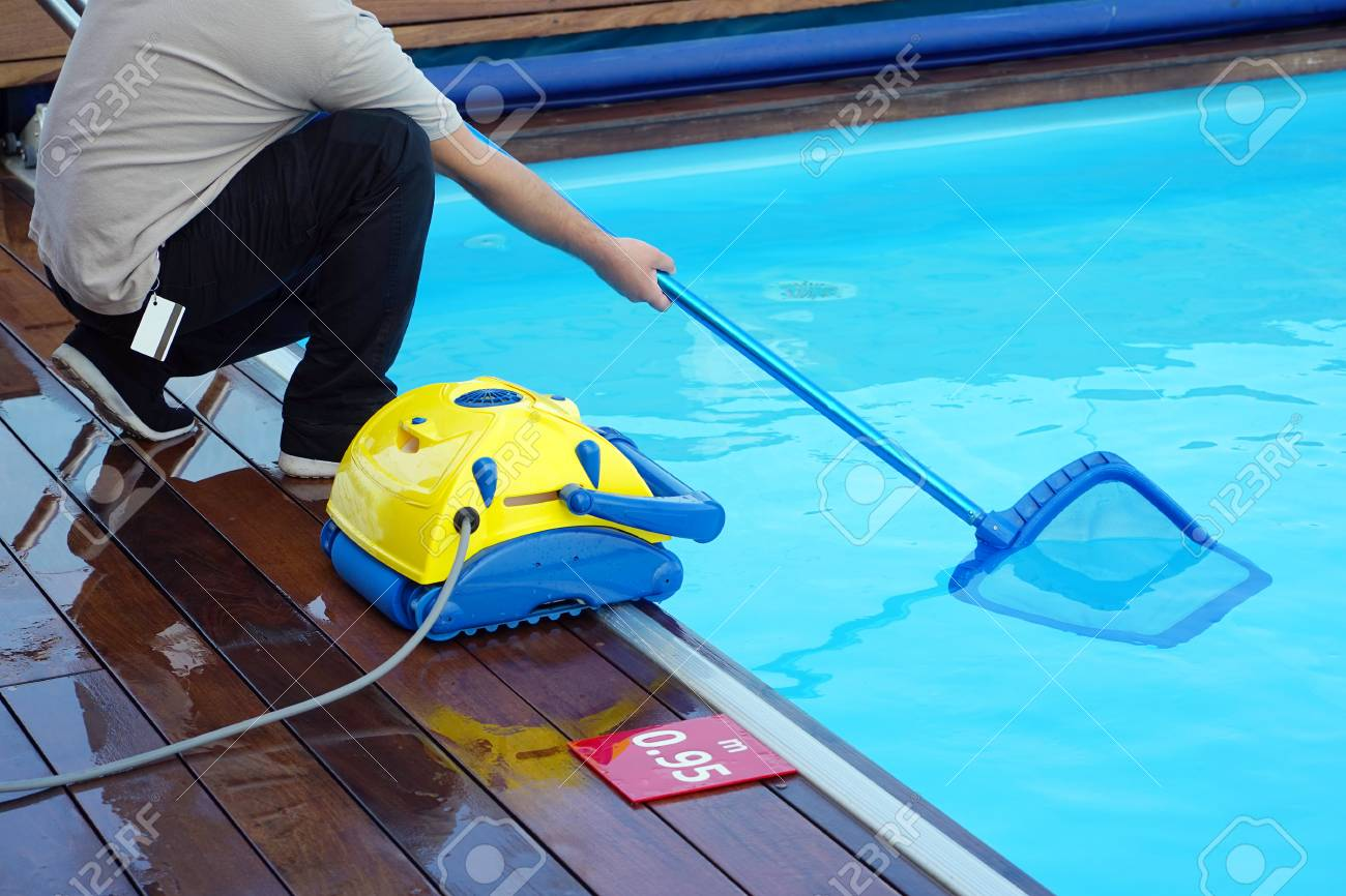 Pool cleaner during his work. Cleaning robot for cleaning the..