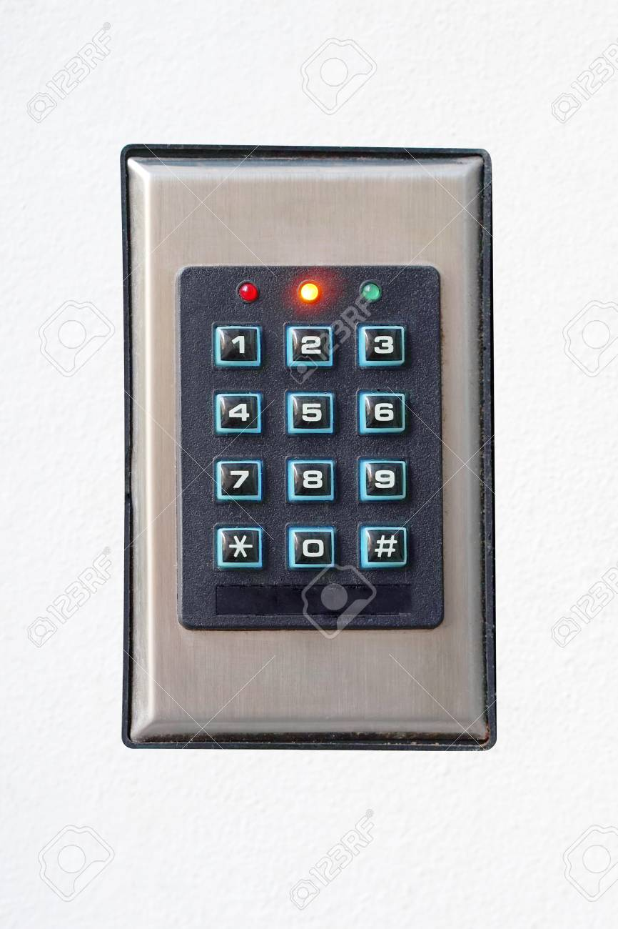 Secure password on keyboard for opening home house door  Isolated