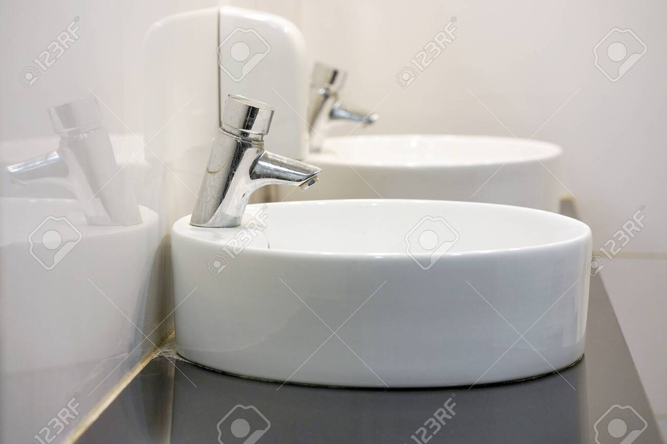 Bathroom Interior Sink With Modern Design In Luxury Hotel Interior Stock Photo Picture And Royalty Free Image Image 142668933