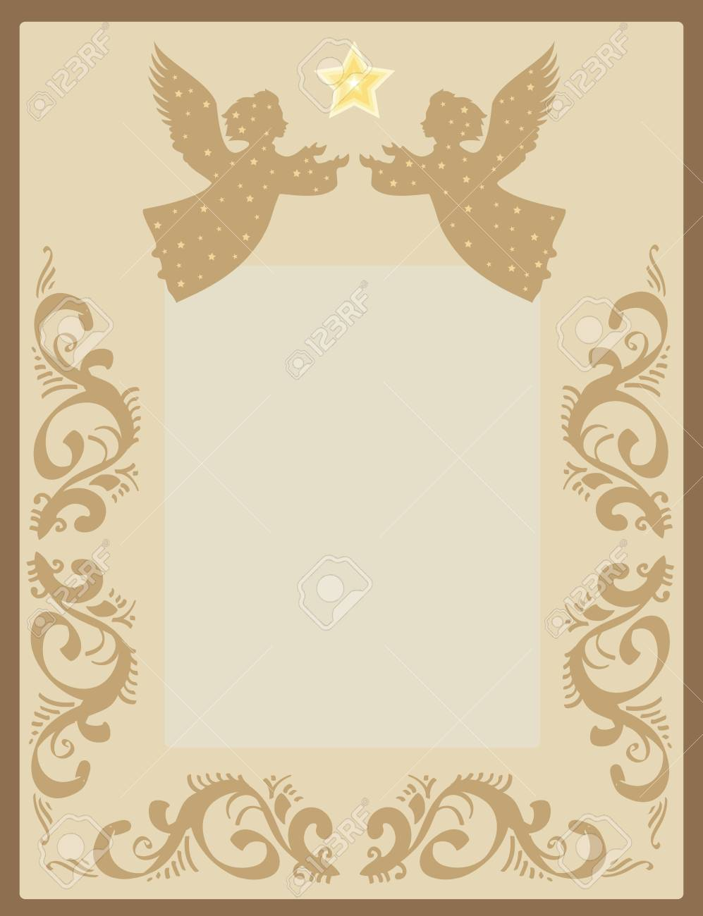 greeting card with two angels and pattern retro Stock Vector - 16518025
