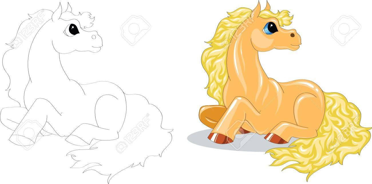 yellow cartoon horse color and contour Stock Vector - 16833319