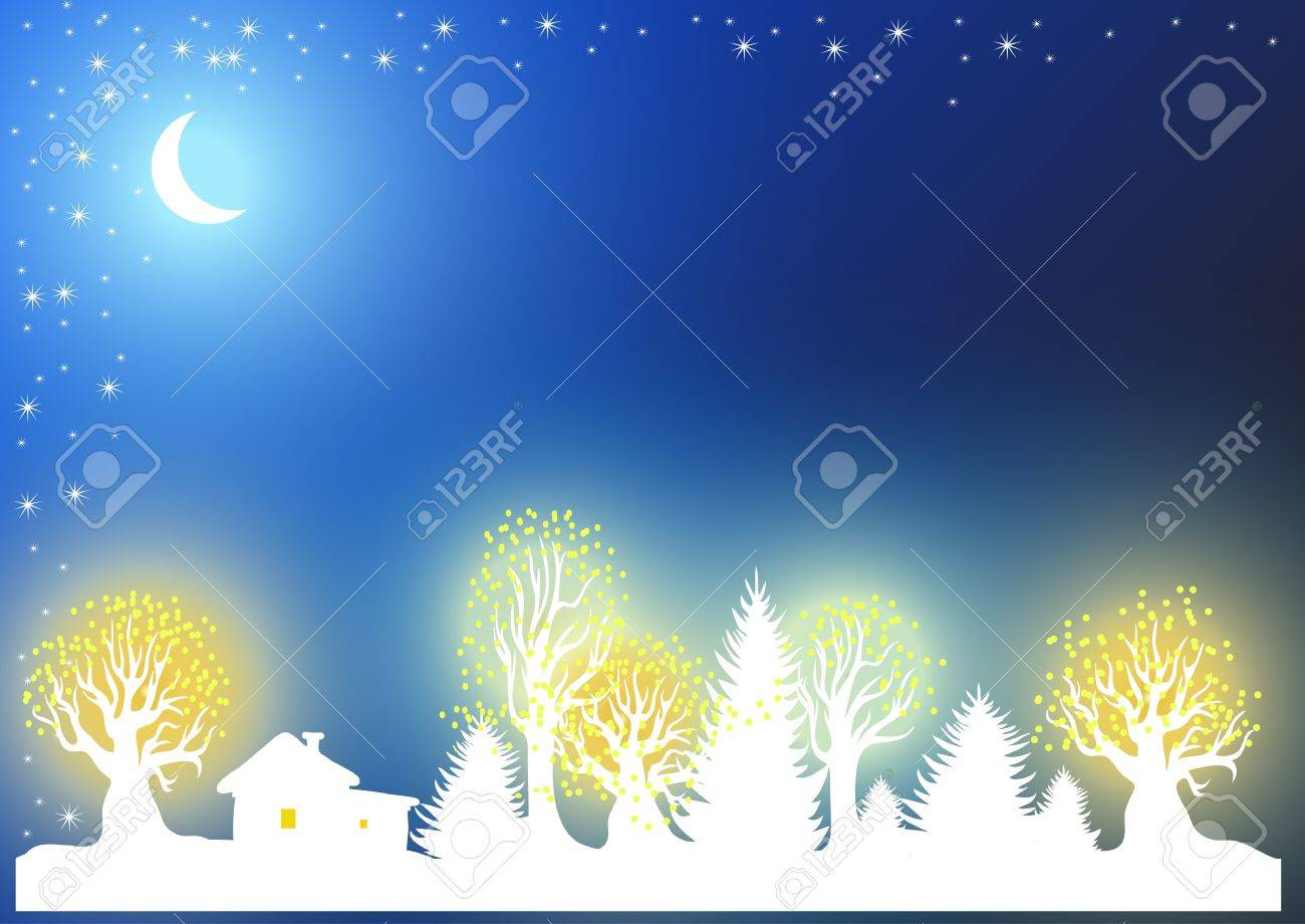 Christmas and New Year's background with the moon, forest, house and garlanded Stock Vector - 16957559
