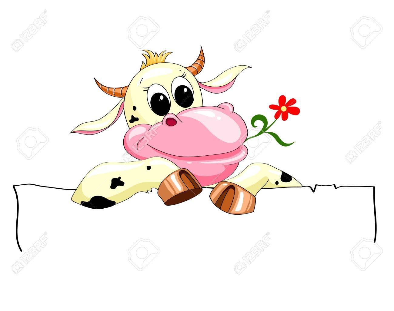 funny spotted cow with a banner and a flower Stock Vector - 17451291