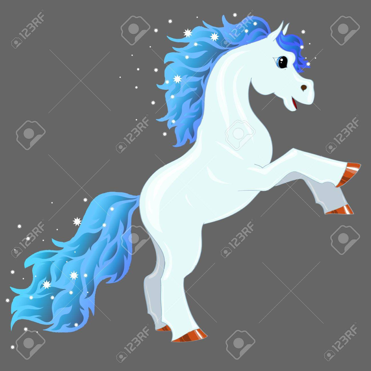 Magic Blue Horse With Shiny Mane And Tail Royalty Free Cliparts Vectors And Stock Illustration Image 21026853