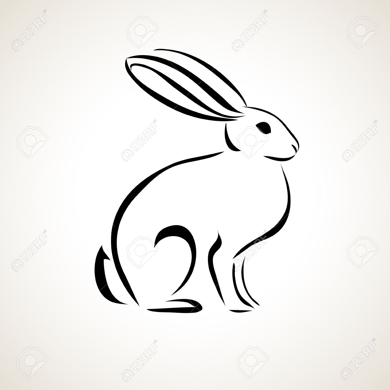 easter card with rabbit outline royalty free cliparts vectors