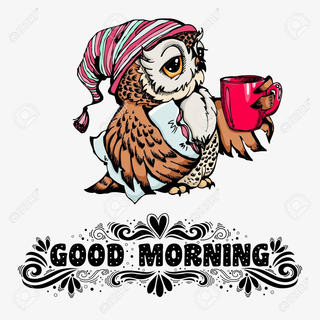 Good morning hand drawn inspirational print with text and cute good morning hand drawn inspirational print with text and cute owl character for t m4hsunfo