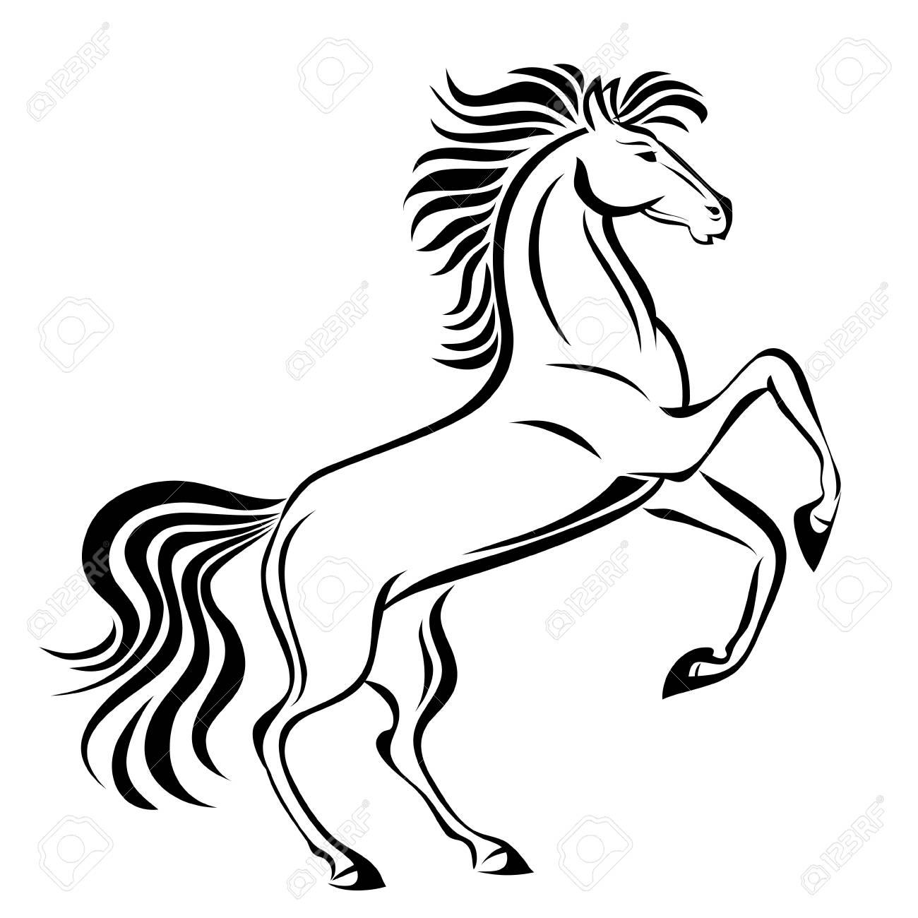 Paard Hand Getrokken Vector Gestileerde Illustratie Voor Tattoo Logo T Shirt En Tassen Ontwerp Geïsoleerd