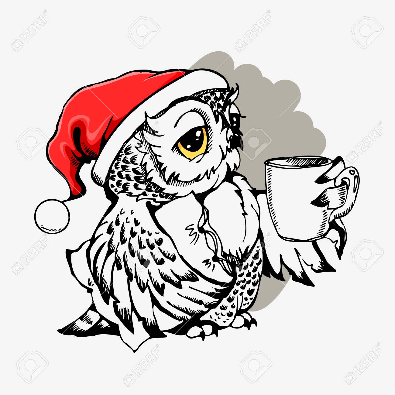 Christmas Owl.Cute Christmas Owl With Cup Of Coffee Hand Drawn Vector Llustration