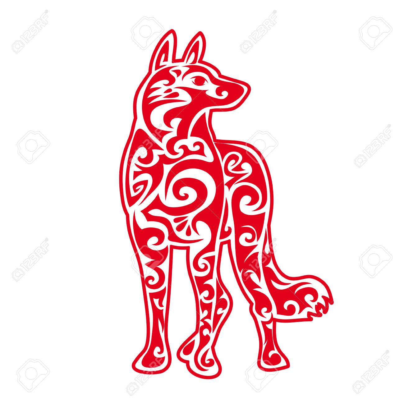 Red Dog Silhouette Chinese Zodiac Animal Symbol Of New Year