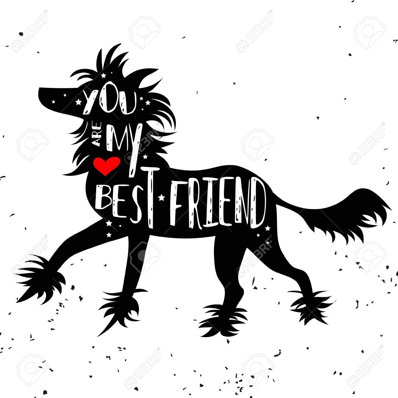 Hand Drawn Hipster Typographic Poster With Dog Silhouette And ...