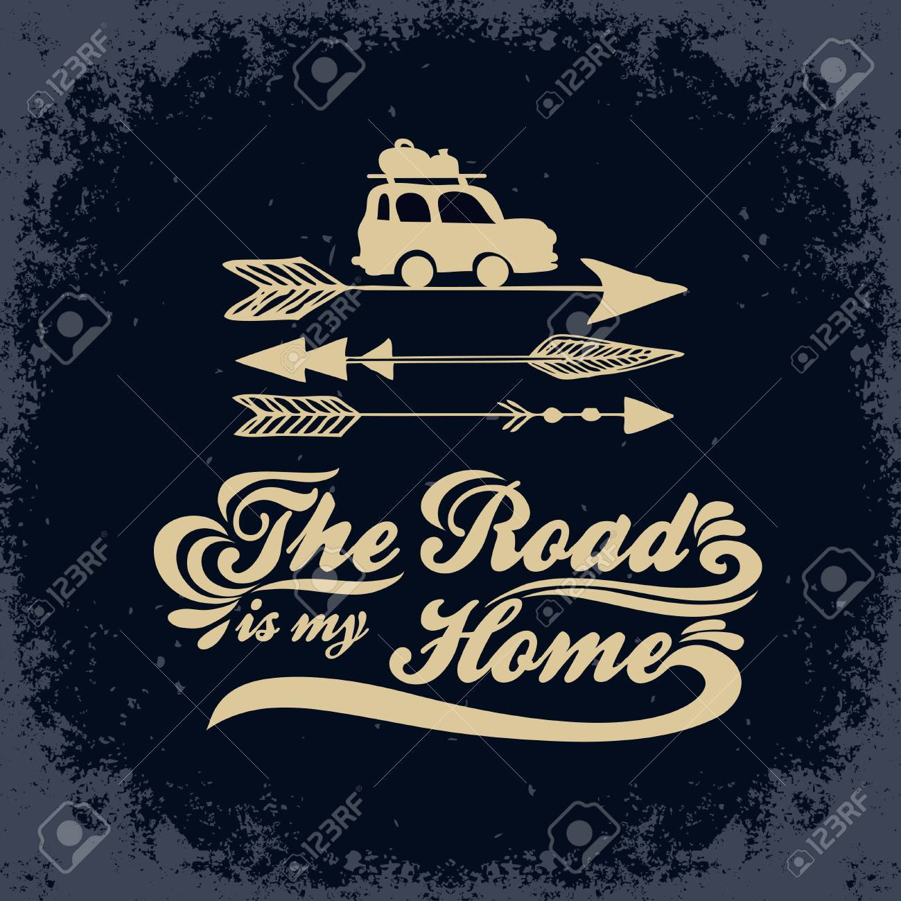 Inspiration Typography For T Shirt Print The Road Is My Home Royalty Free Cliparts Vectors And Stock Illustration Image 93077236