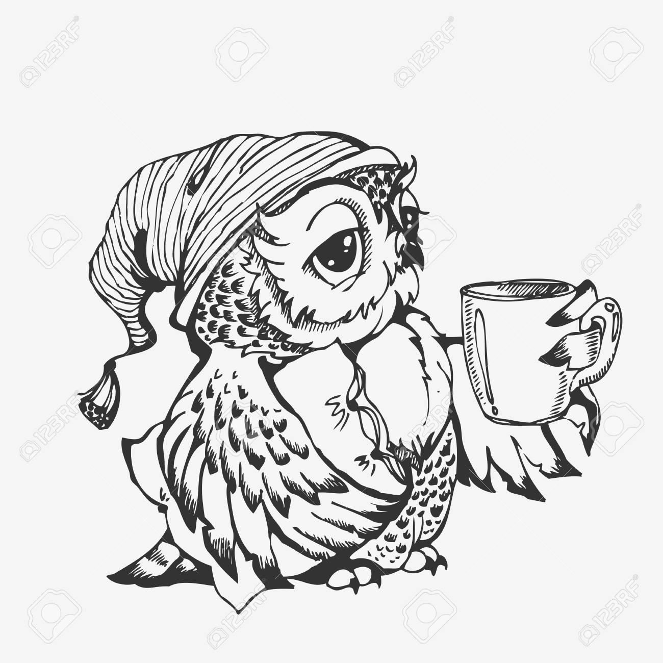 Coloring Book Greeting Card Isolated On White Cute Owl Cartoon Character Line Sketch Hand Drawn Vector Illustration For T Shirt Print